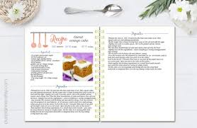 Recipe Blank Template Editable Cook Book Recipe Template Recipe Pages Pattern Etsy