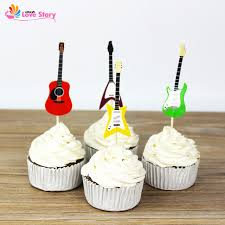 Cupcake Decorating Accessories New 100pcs Guitar Design Cupcake Toppers Paper Cake Picks Party 91