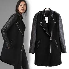 fashion faux leather sleeve womens coat long jacket trench parka outwear black