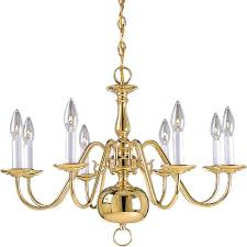 progress lighting americana collection 8 light polished brass chandelier