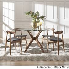 nadine walnut finish gl table top round dining set curved back chairs by inspire q modern ships to canada overstock ca 18218122