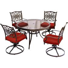 Hanover Traditions 5 Piece Aluminum Outdoor Dining Set With Swivel