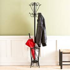 Iron Coat Rack Stand Black Iron Coat Rack With Umbrella Stand In Carving Accent Having 42