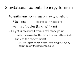 gravitational potential energy formula potential energy mass x gravity x height peg mgh