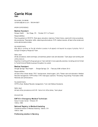 Medical Assistant Back Office Duties Carrie Hice Resume