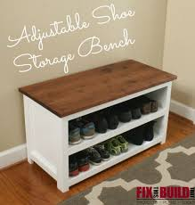 Entry benches shoe storage Foyer Make This Adjustable Shoe Storage Bench With Plans From Fixthisbuildthatcom Pinterest Diy Adjustable Shoe Storage Bench diy Projects Love