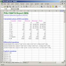 the diffeial equation variables and the tabulated variable values are also in