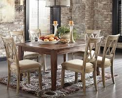 rustic dining set. Rustic Dining Table With Padded Seat Chairs Set