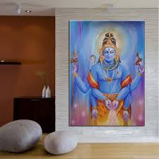 Small Picture Pure Hand painted India Lord Shiva Oil Painting on Canvas Modern