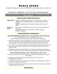 Sample Resume For Receptionist Sample Resume