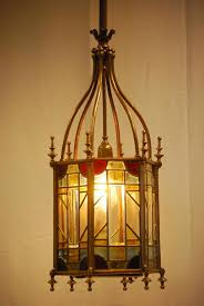 neoclassical unique antique gas multi color stained glass hall lantern 1860 1880 from