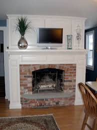 custom built colonial fireplace mantel and custom surround brick hearth with slate hearth