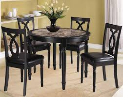 kitchen trendy small round dining room sets table fabric armless chairs modern white black color decoration