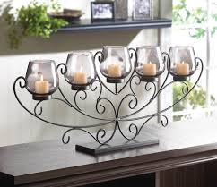 large 26 long black scroll fireplace candelabra candle holder table centerpiece