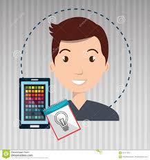 Man Smartphone Color Chart Idea Stock Illustration
