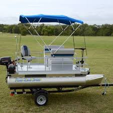 add the bimini top to your pontoon boat to shade yourself from the sun while you re out on the lake the canvas top easily collapses and fits into