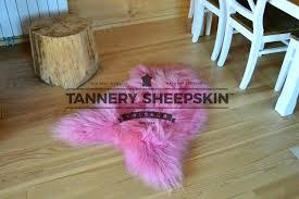 pink sheepskin rugs sheep skin rug tannery large pale