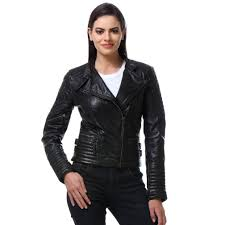bareskin black color classic biker jacket in lamb uno leather for women