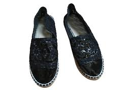 chanel espadrilles espadrilles leather patent leather lace rope black ref 76971