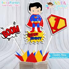 Personalized Superhero Birthday Invitations Superman Centerpieces Superhero Centerpiece Superheroes Birthday