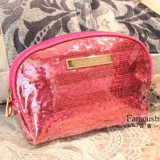 victoria s secret glitter pink stripe make up bag pouch purse wallet