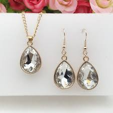 details about 1 set rose gold water drop pendant necklace earrings fashion jewelry white