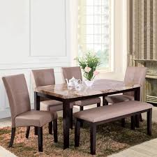 60 inch by 36 inch chairs normal size and 1 bench 6 seater dinning table set
