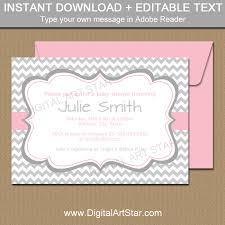 Invitation Downloads Impressive Gray And Pink Baby Shower Invitation Template Digital Art Star