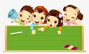 Children Education Cartoons Child Kindergarten Green Blackboard Cartoon Happy School Vector