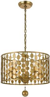 modern drum pendant lighting. crystorama 545ga layla modern antique gold drum pendant light fixture loading zoom lighting b
