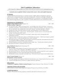 Medical Assistant Sample Resume Resume Samples
