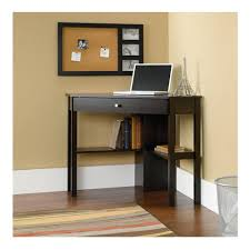 sauder beginnings corner computer desk cinnamon cherry large drawer shelf with flip down panel for keyboard mouse or laptop