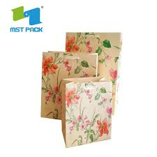 Flower Printed Paper Hot Item Customized Promotional Colorful Printed Flower Paper Bag Murah