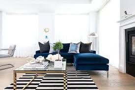 sapphire blue velvet sofa with chaise lounge and black white striped rug stockholm ikea canada