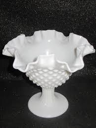 details about gorgeous vintage fenton ruffled hobnail milk glass pedestal vase compote dish