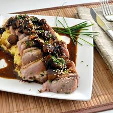 seared yellowfin tuna pepper steaks with mushroom sauce