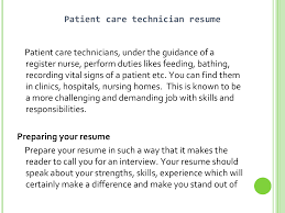 Patient Care Tech Resume Resume For A Patient Care Technician Resume Template 24 15