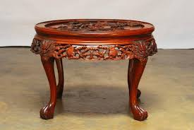chinese export round chinese carved rosewood tea table with nesting stools