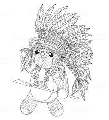 Hand Getekende Indische Teddybeer Voor Volwassen Kleurplaat