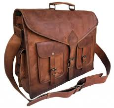 vintage leather messenger briefcase satchel