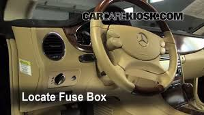 interior fuse box location mercedes benz cls  locate interior fuse box and remove cover
