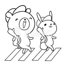 交通安全横断歩道動物クマウサギ線画塗り絵イラスト No 860294無料