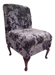 Silver Bedroom Chair Bedroom Chair In Mercury Silver Soft Crushed Velvet Fabric On