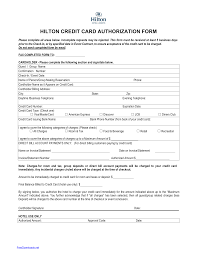 hilton credit card authorization form template
