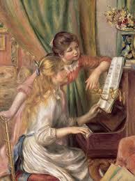 young painting young girls at the piano by pierre auguste renoir