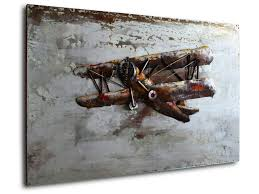 vintage aviator metal relief wall art  on aeroplane metal wall art with biplane metal wall art vintage biplane metal d cor