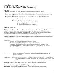 Persuasive Essay Rubric 2 Week One The Art Of Writing Persuasively