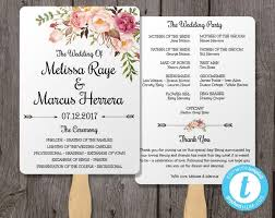 Wedding Program Fans Cheap Wedding Program Fan Template Bohemian Floral Instant Download