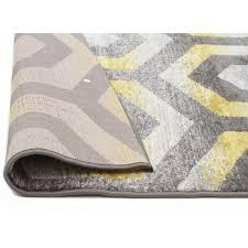 irene hive modern rug yellow grey back image
