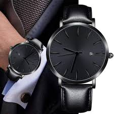simple men watch pu leather band mens watches top brand luxury men teen date og daily waterproof quartz watches 2018 malaysia